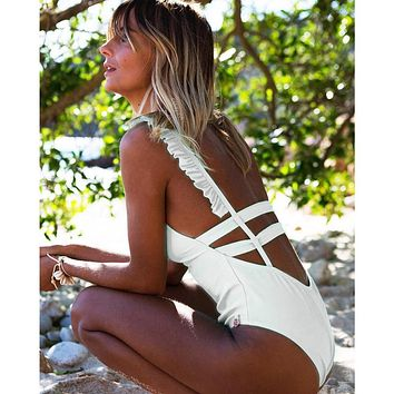 Backless Spaghetti Straps Ruffle One Piece Swimwear Monokini