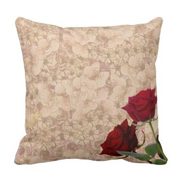 Vintage Rose Design Throw Pillow