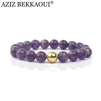 Natural Stone Braclet Gold Color Beads Strand Bracelet Purple Stone Beads Stretch Bracelets For Women Bracelet & Bangles