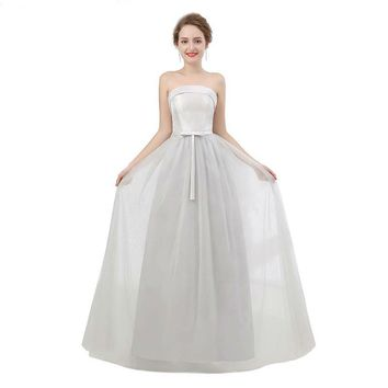 Silver Tulle Boat Neck Bridesmaid Dresses Long Wedding Party Gown