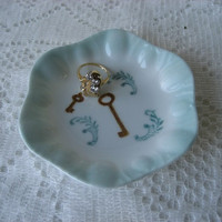 """Key Ring dish bowl 4""""  Porcelain ceramic pottery aqua  blue ;Hand Painted and Kiln Fired  by B.Marsh Unique Gift Beautiful Color"""