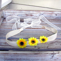 Sunflower crown tie back headband - ivory linen and lace