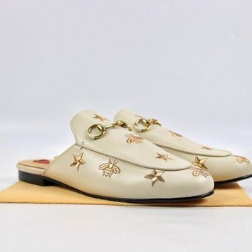 Gucci Princetown embroidered leather slipper White - Best Deal Online
