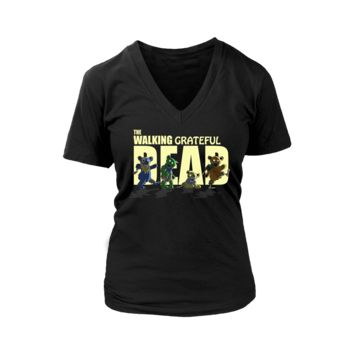 ONETOW The Walking Grateful Dead Marching Dancing Bear Womens V-Neck