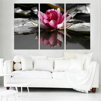 Lotus Print on Canvas Modern Home Decoration Flower Ink Oil Painting Unframed Wall Pictures for Room Wall Decor Panels 3 Pieces