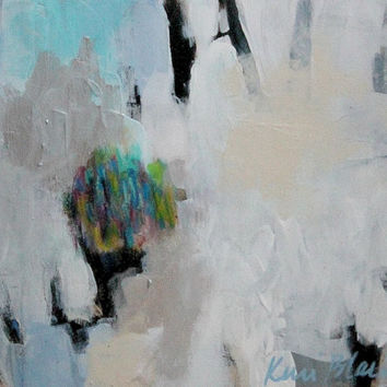 "Small Gestural Abstract Painting, Light Colors, Acrylic, Blue, White, ""What We Hold Close"""