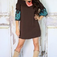Brown and Turquoise Embroidered Belle Sleeve Dress - Modern Vintage Boutique