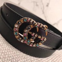 Rhinestones GUCCI GG Smooth Leather Buckle Belt