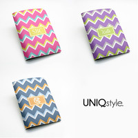 Chevron zigzag style PU leather passport holder - personalized travel wallet with custom name or monogram initials - N25