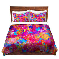 FLORAL Fine Art Duvet Covers, Queen, Twin Size Hot Pink Turquoise Blue Home Decor Girly Flowers Pattern Bedding Chic Garden Colorful Bedroom