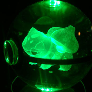 Crystal Glass 3D Laser Engraved Pokeball (Bulbasaur)