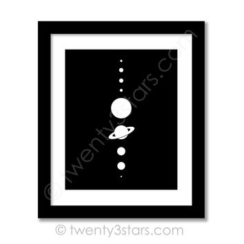 Planets Aligned Solar System Wall Art - Choose Any Colors - twenty3stars