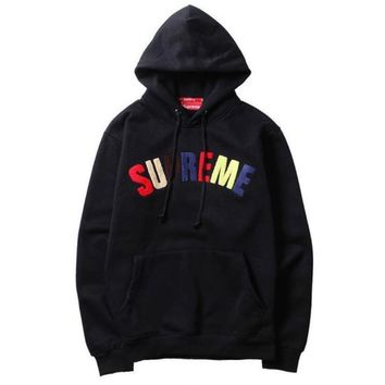 Supreme Popular Women Men Loose Letter Long Sleeve Hoodie Pullover Sweater Top Black I