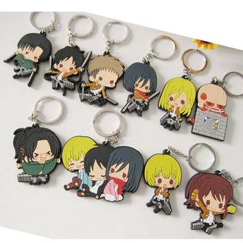 2018 Direct Selling New Arrival Key Chain Comic Onslaught Of Giant Attack On Titan Keychain Anime Silica gel