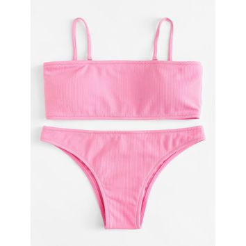 Detachable Straps Bikini Set PINK