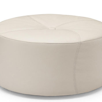 Aso Leather Circle Ottoman by Natuzzi Editions