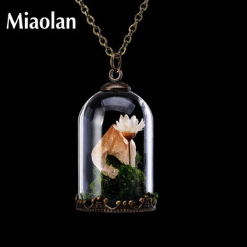 Handmade Natural Stone Crystal Citrine Necklaces Women Flower Quartz Point Raw Amethyst Terrarium Pendant
