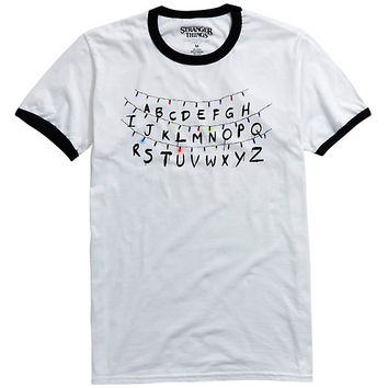 Stranger Things Holiday Lights Ringer T-Shirt