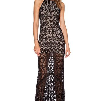 Chicloth Black Lacy Fish Scale Open Back Evening Dress
