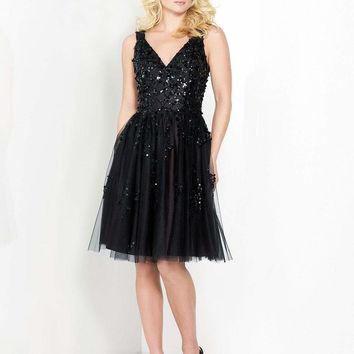 Social Occasions - Sequined V-Neck A-Line Dress 215811