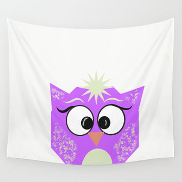 Boxy Owl Wall Tapestry by sm0w