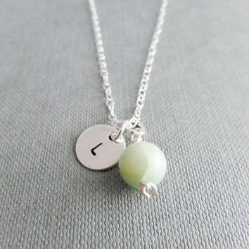 Silver initial necklace, Gemstone monogram necklace, personalised silver necklace, mint green letter necklace, dainty necklace, bridesmaid n