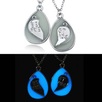 Water droplet glow in the dark BFF necklace Set