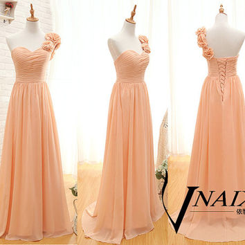 2015 Prom Dress Elegant Formal One Shoulde With Handmade Flower Lace Up Back Long Chiffon Salmon Pink Bridesmaid Dress Wedding Party Dresses