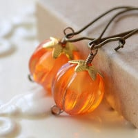 Pumpkin Earrings, Orange Beads, Antiqued Brass Kidney Earwires, Thanksgiving Autumn Halloween Jewelry