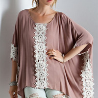 Crochet Lace Poncho Top - Mocha