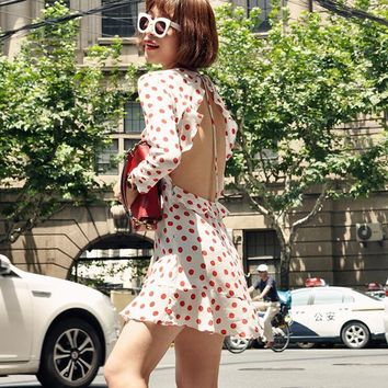 100% Silk Polka Dot Print Mini Dress Long Sleeve Vintage Ruffle Backless Sexy Women Vestido