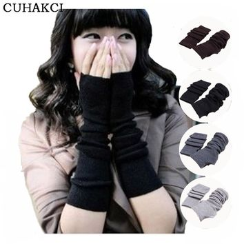 2017 Unisex Autumn Winter Hand Arm Gloves Crochet Knit Long Stretchy Warm Fingerless Gloves Women Men