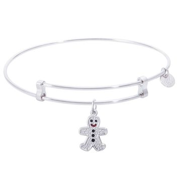 Sterling Silver Confident Bangle Bracelet With Gingerbread Man Charm