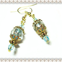Peacock Blue Earrings~Women's Blue Earrings With Gold Flecks, And End Caps~Wedding Earrings