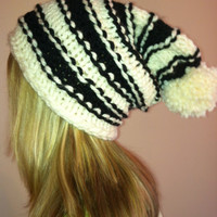 Hand Knit Oversized Slouchy Beanie Black and Cream With Pom Pom
