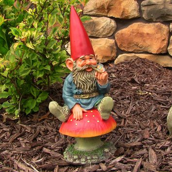 Sunnydaze Decor Garden Gnome with Mushroom and Butterfly