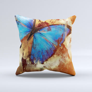 Bright Blue Butterfly on Grunge Gold Surface Ink-Fuzed Decorative Throw Pillow