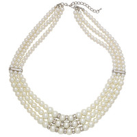 Buy John Lewis 3 Strand Pearl and Diamanté Crystal Necklace online at John Lewis