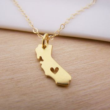 California State Heart - Dainty 14k Gold Filled Necklace