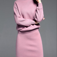 Pink Long Sleeve Two Piece Wool Blend Sweater Dress