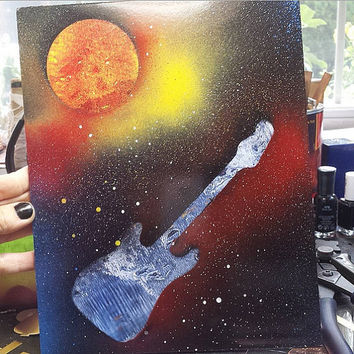 Guitar Painting - Spray paint on Foam Board