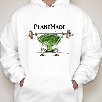 Vegan Plant Made funny workout lifting hooded sweatshirt fitness nutrition hoodie unisex