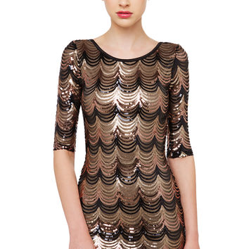 Scalloped Up In You Sequin Dress - Black/Gold