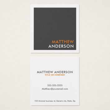 Modern square business cards - gray, orange accent
