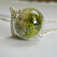 Mottled Earth.... Glass Orb Keep Sake, Lime Green Moss, Simplicity, Nature