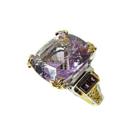 Amethyst Ring Sterling Gold 35 cts MASSIVE