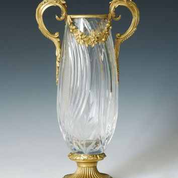 Bronze and Crystal Sculpture Vase