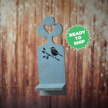 Hand Painted Wood Sconce for Candles, Blue Bird Wall Hanging