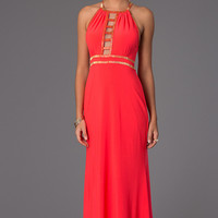 Floor Length Sleeveless Dress with Cut Outs