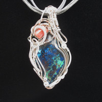 Wire Wrap Pendant with Blue Green Chrysocolla cabochon Agate bead in Sterling Silver